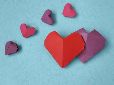 اوریگامی سه بعدی قلب به صورت مرحله به مرحله