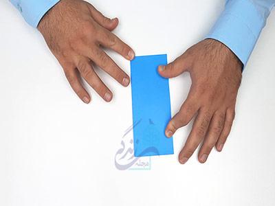 تا کردن کاغذ به صورت افقی در کاردستی جعبه